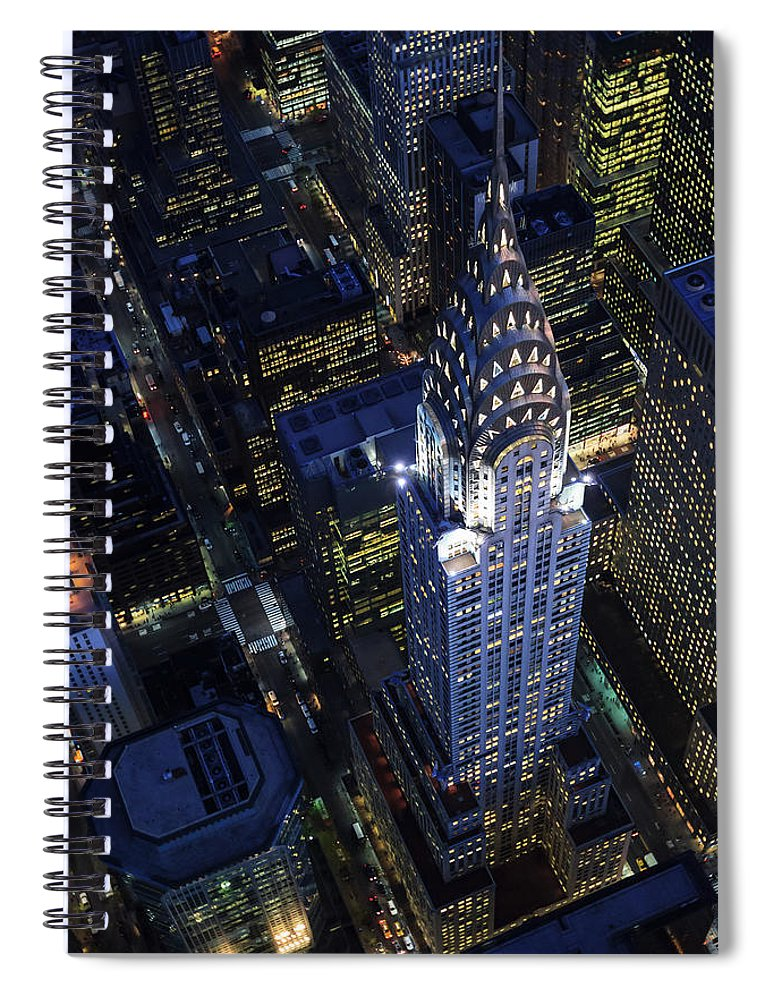 Downtown District Spiral Notebook featuring the photograph The Chrysler Building And Manhattan by Berthold Trenkel