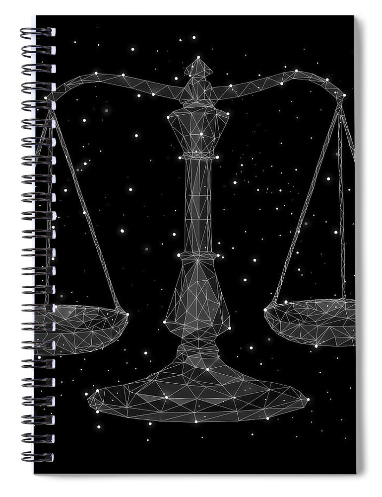 Majestic Spiral Notebook featuring the digital art The Constellation Of Libra by Malte Mueller