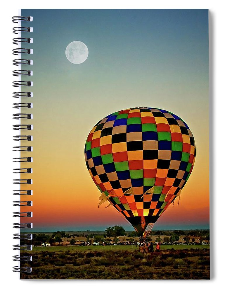 Southwest Spiral Notebook featuring the photograph The Dawn of Light, 2017 Albuquerque International Balloon Festival by Zayne Diamond Photographic