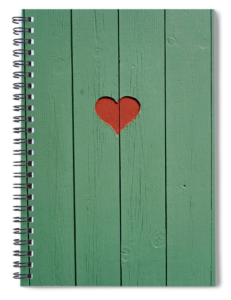 Outhouse Spiral Notebook featuring the photograph The Door To A Outhouse by Fredrik Nyman