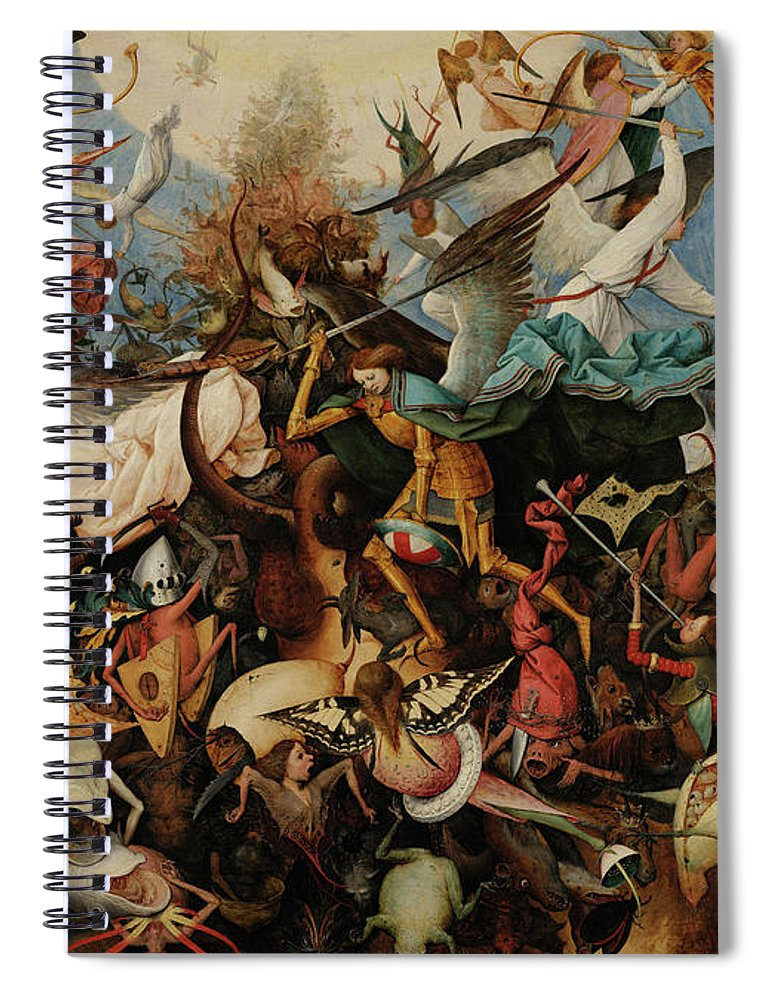 St Michael Spiral Notebook featuring the painting The Fall Of The Rebel Angels, 1562 by Pieter Bruegel the Elder