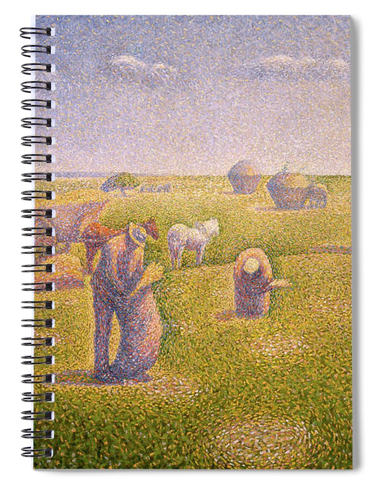 The Harvesters Spiral Notebook featuring the painting The Harvesters, 1892 by Charles Angrand
