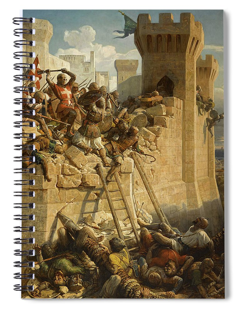 Papety Spiral Notebook featuring the painting The Hospitalier Marechal Matthieu De Clermont, Defending The Walls At The Siege Of Acre, 1291 by Dominique Papety