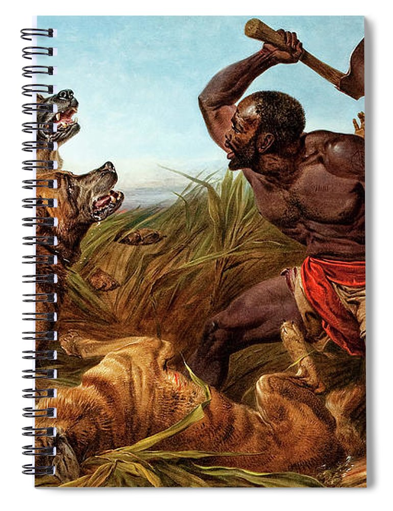 Richard Ansdell Spiral Notebook featuring the painting The Hunted Slaves, 1862 by Richard Ansdell