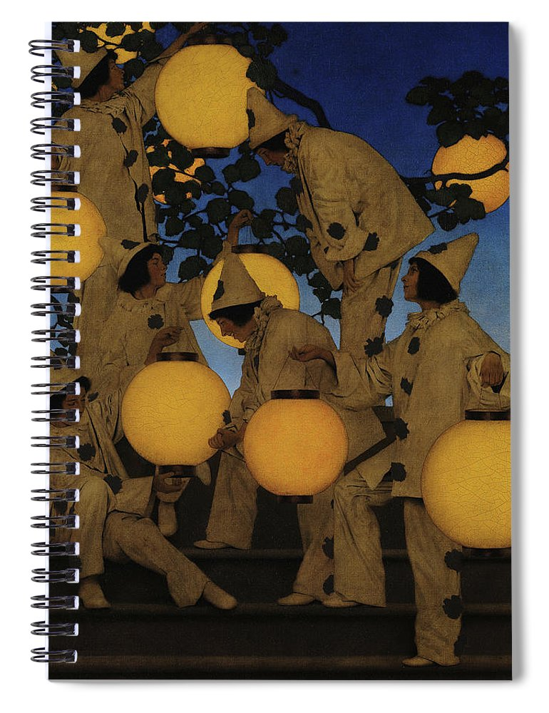 Maxfield Parrish Spiral Notebook featuring the painting Lantern Bearers by Maxfield Parrish