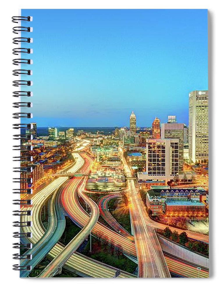 Atlanta Spiral Notebook featuring the photograph The Lifeblood Of Atlanta by Photography By Steve Kelley Aka Mudpig