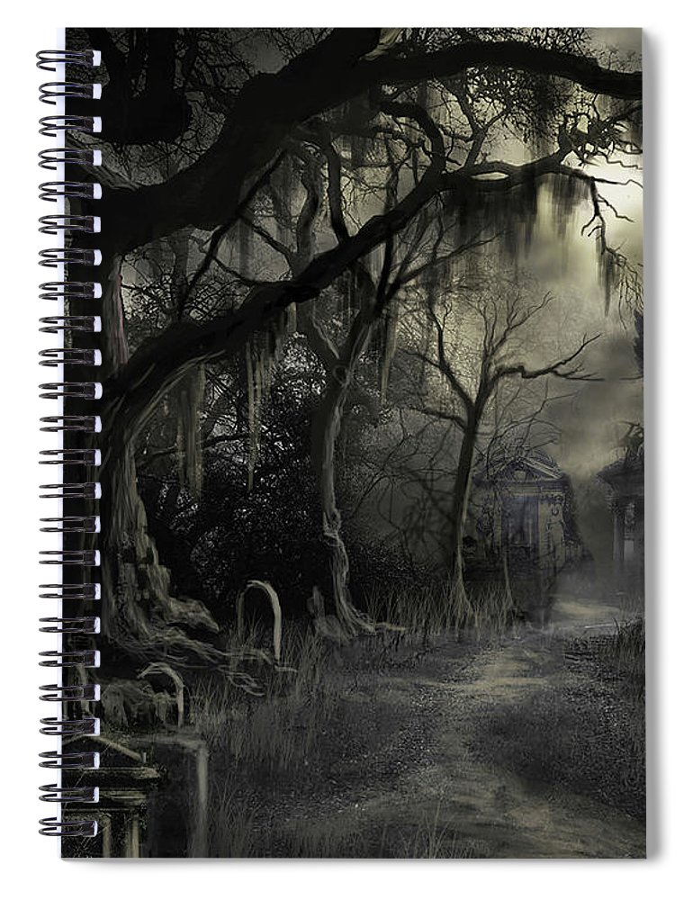 Cemetery Spiral Notebook featuring the painting The Lost Cemetery by James Christopher Hill
