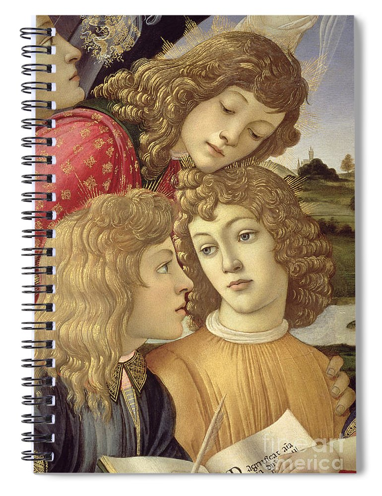 Sandro Botticelli Spiral Notebook featuring the painting The Madonna Of The Magnificat, Detail Of Three Boys, 1482 by Sandro Botticelli