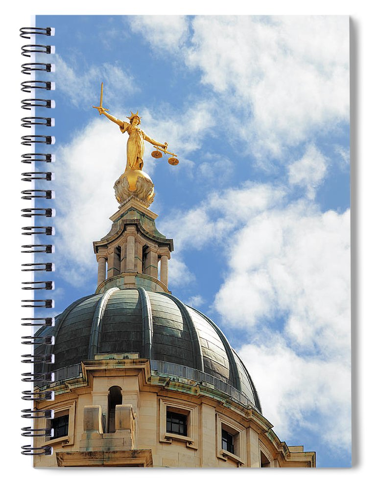 Statue Spiral Notebook featuring the photograph The Old Bailey, Central Criminal Court by Peter Dazeley