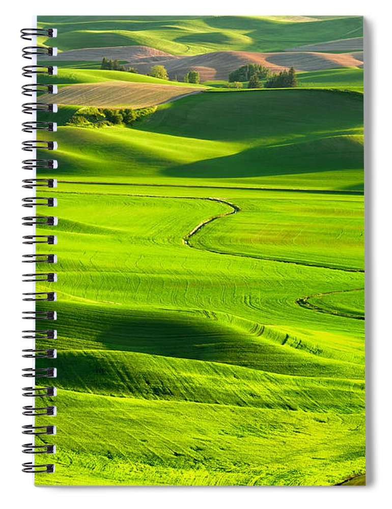 Scenics Spiral Notebook featuring the photograph The Palouse Rolling Hills by Justinreznick