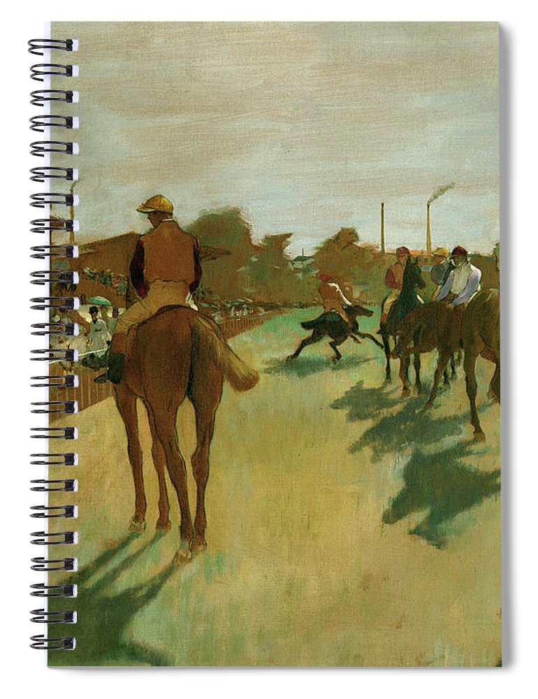 Edgar Degas Spiral Notebook featuring the painting The Parade, Race Horses In Front Of The Tribunes, 1868 by Edgar Degas