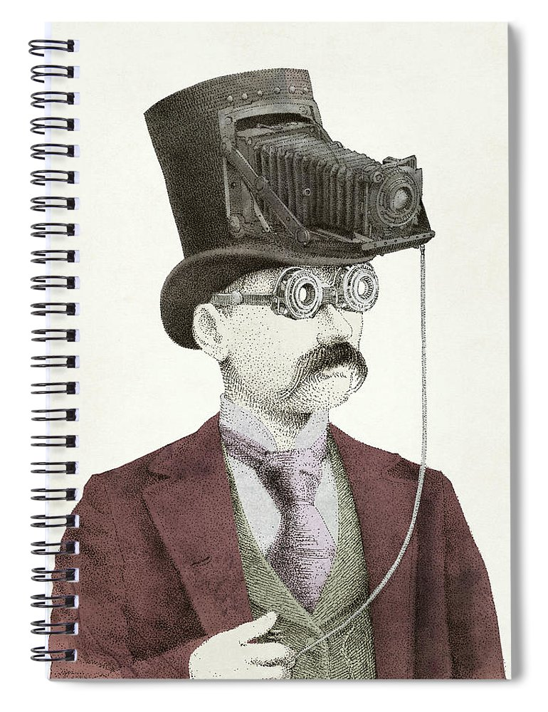 Photography Spiral Notebook featuring the drawing The Photographer by Eric Fan