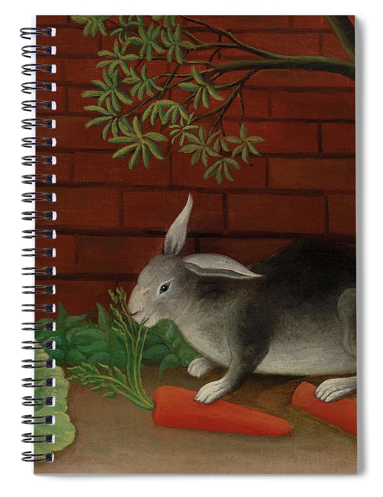 Henri Rousseau Spiral Notebook featuring the painting The Rabbit's Meal by Henri Rousseau