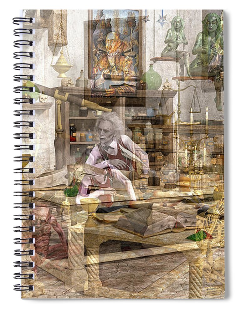 Wizard Spiral Notebook featuring the digital art The Reality Question by Betsy Knapp