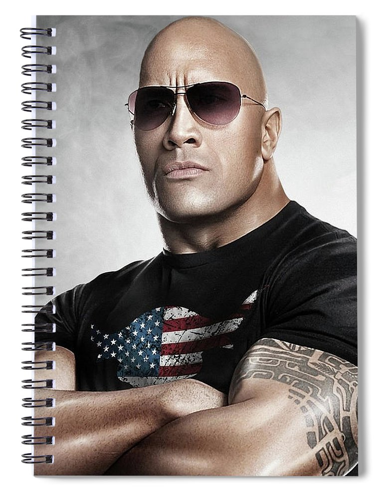 The Rock Spiral Notebook featuring the photograph The Rock Dwayne Johnson I I by Movie Poster Prints