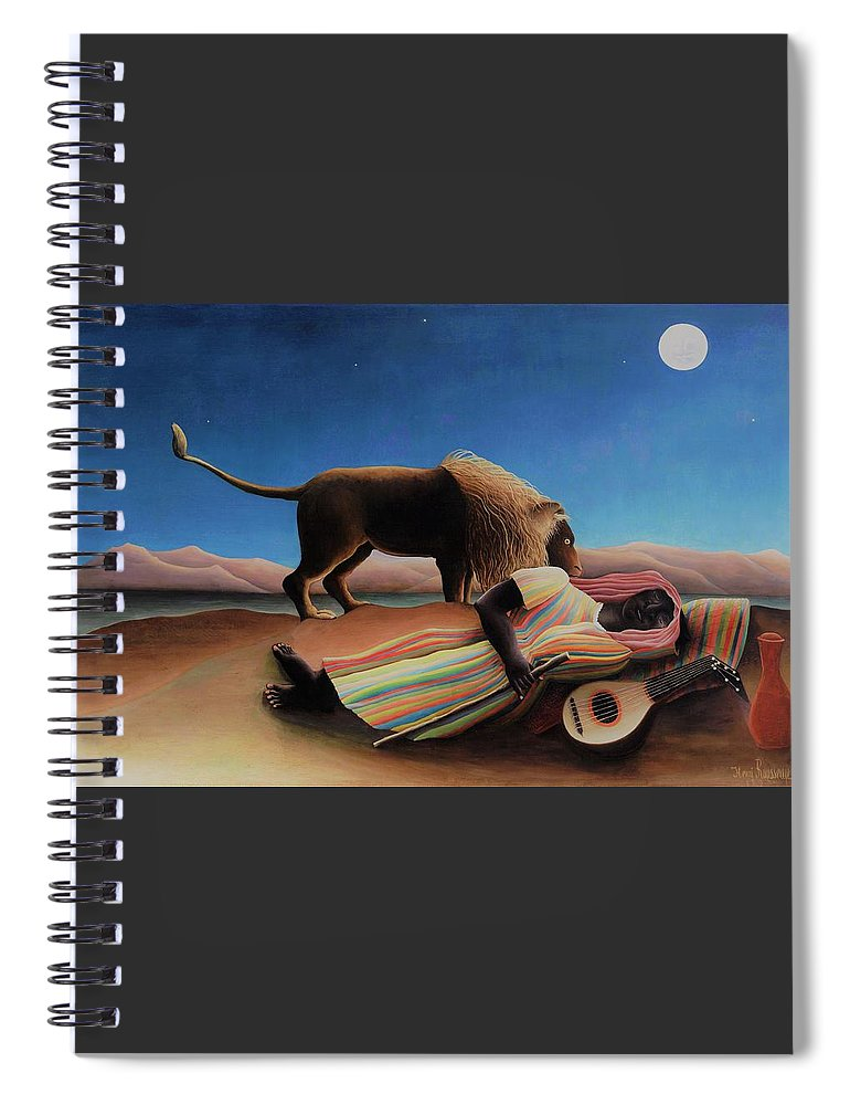 Henri Rousseau Spiral Notebook featuring the painting The Sleeping Gypsy - Original Moonlight Edition by Henri Rousseau