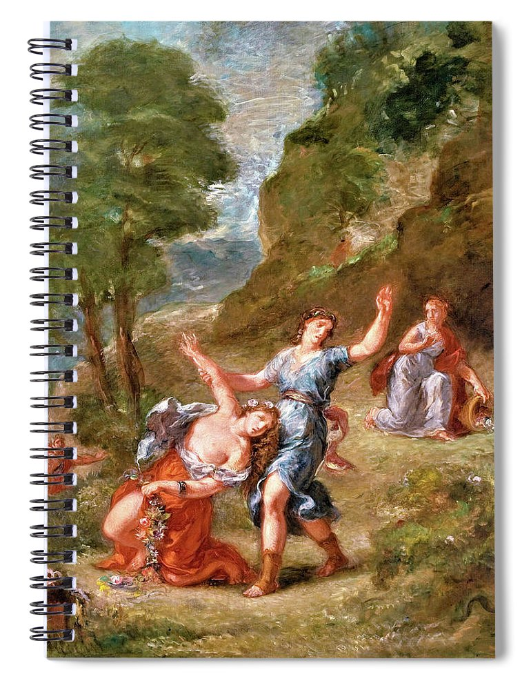 The Spring Spiral Notebook featuring the painting The Spring - Eurydice Bitten By A Serpent While Picking Flowers, Eurydice's Death by Eugene Delacroix