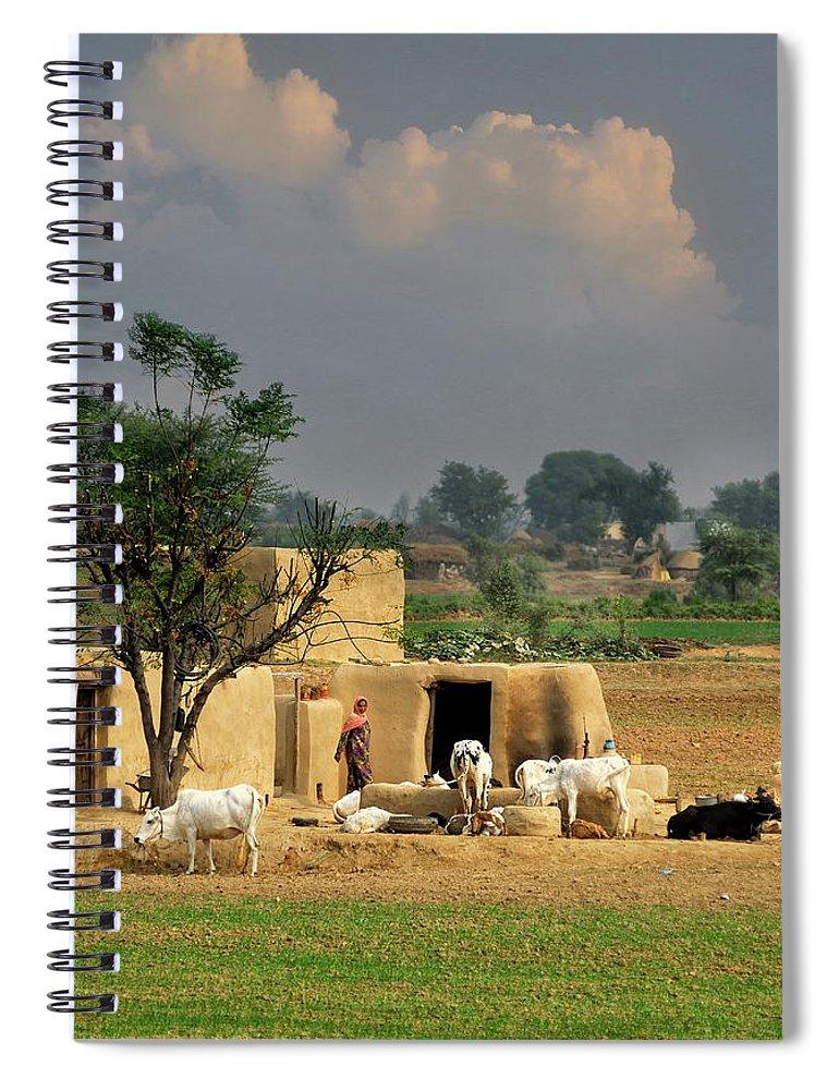 Grass Spiral Notebook featuring the photograph The Village Of Punjab by Nadeem Khawar