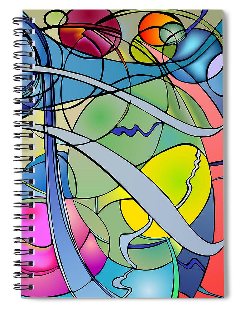 Nonobjective Spiral Notebook featuring the digital art Thought Patterns #2 by James Fryer
