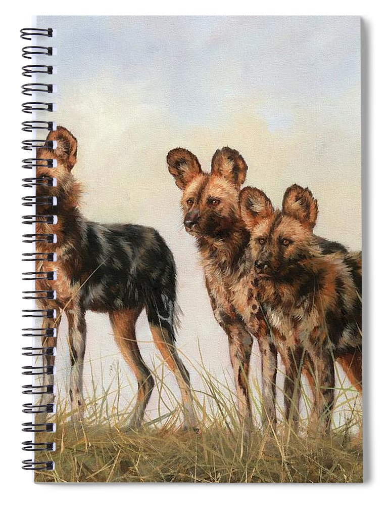 African Wild Dog Spiral Notebook featuring the painting Three African Wild Dogs by David Stribbling
