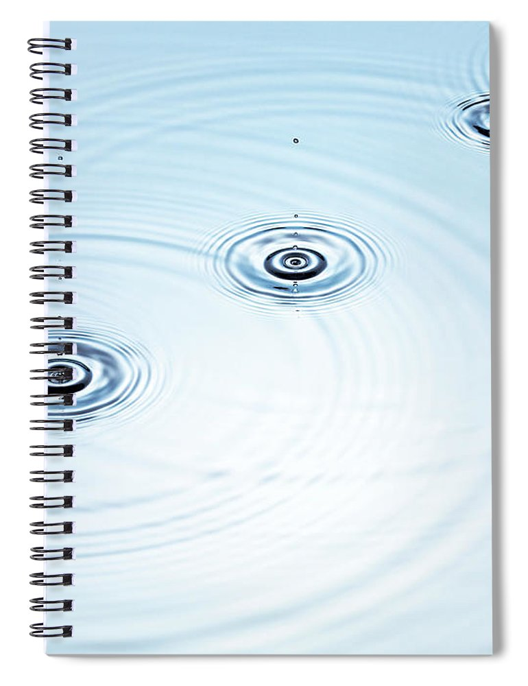 Purity Spiral Notebook featuring the photograph Three Drops Of Water Falling Into A by Pier