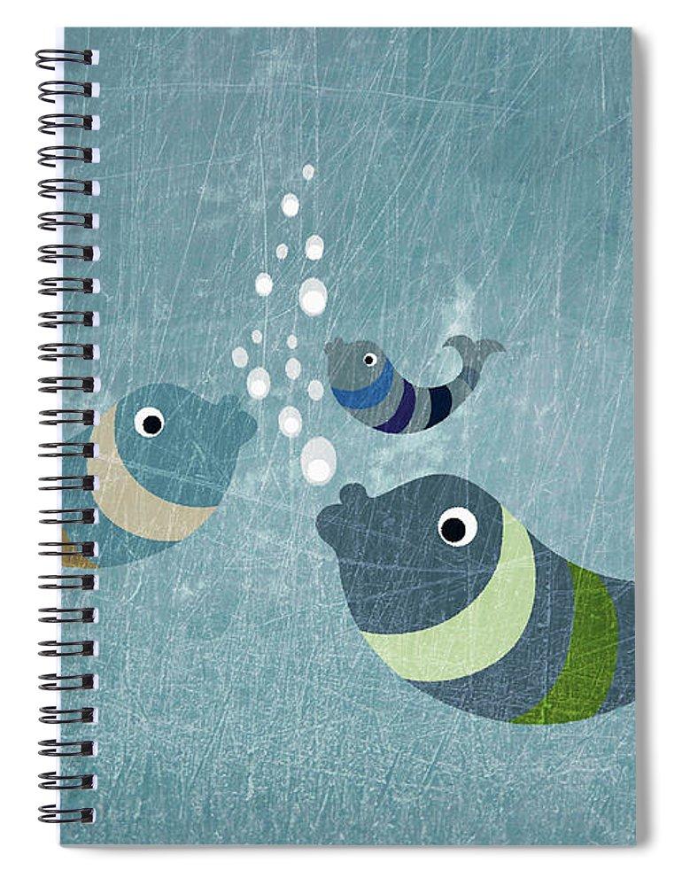 Underwater Spiral Notebook featuring the digital art Three Fish In Water by Fstop Images - Jutta Kuss