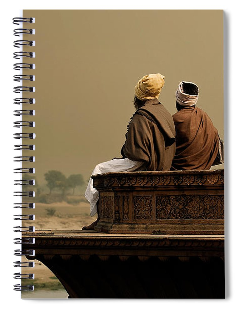 Water's Edge Spiral Notebook featuring the photograph Three Sadhus Meditating By The Yamuna by Globalstock