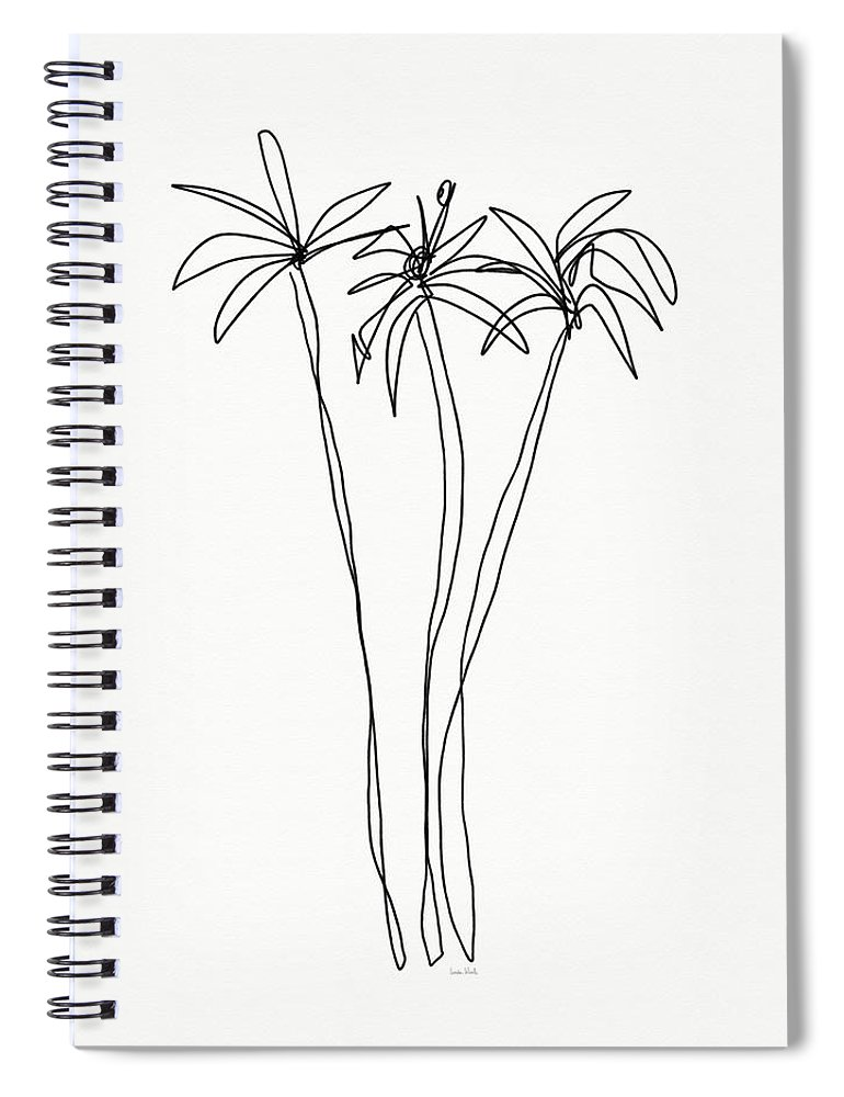 Trees Spiral Notebook featuring the drawing Three Tall Palm Trees- Art by Linda Woods by Linda Woods