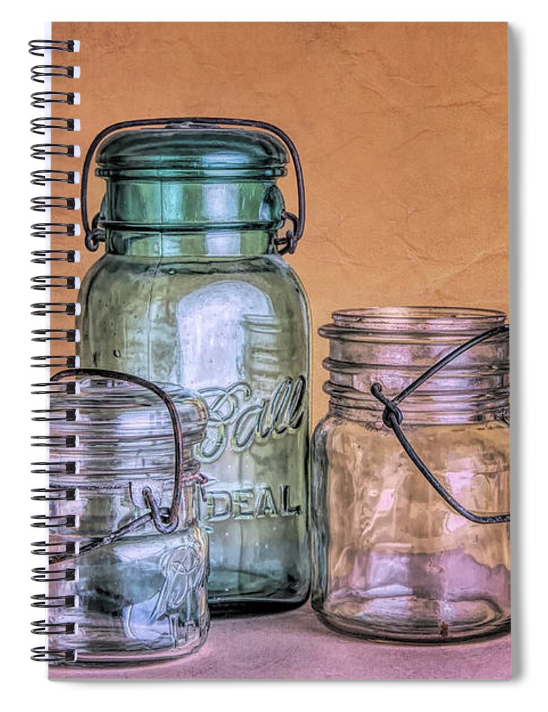 Glass Spiral Notebook featuring the photograph Three Vintage Ball Jars by Tom Mc Nemar