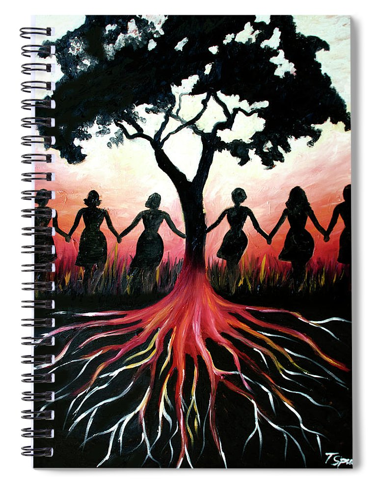 Folk Spiral Notebook featuring the painting Thriving by PushPullArts Inc