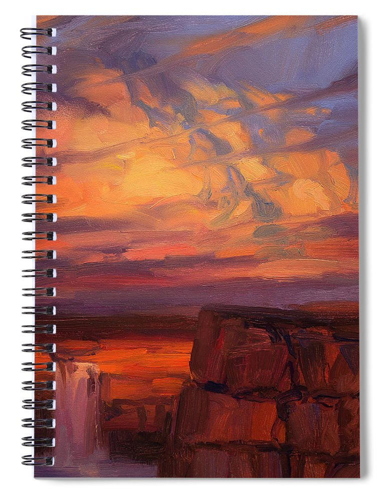 Waterfall Spiral Notebook featuring the painting Thundercloud Over The Palouse by Steve Henderson