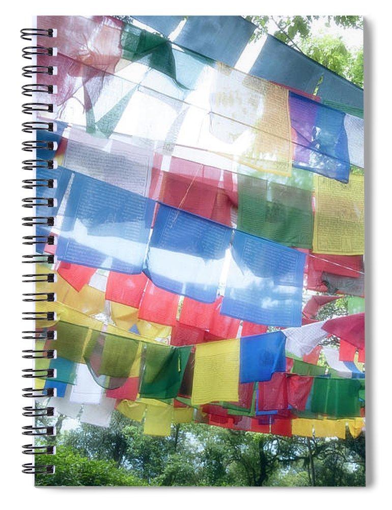 Hanging Spiral Notebook featuring the photograph Tibetan Buddhist Prayer Flags by Glen Allison