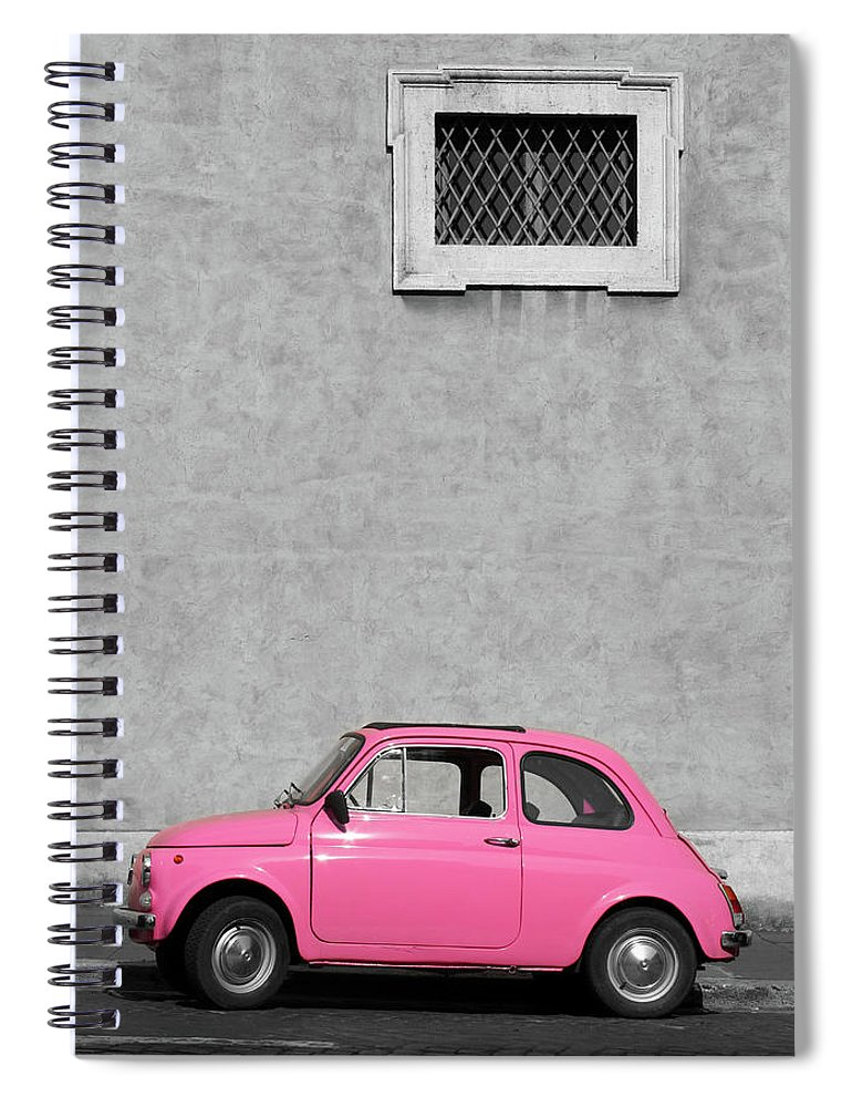 Sparse Spiral Notebook featuring the photograph Tiny Pink Vintage Car, Rome Italy by Romaoslo