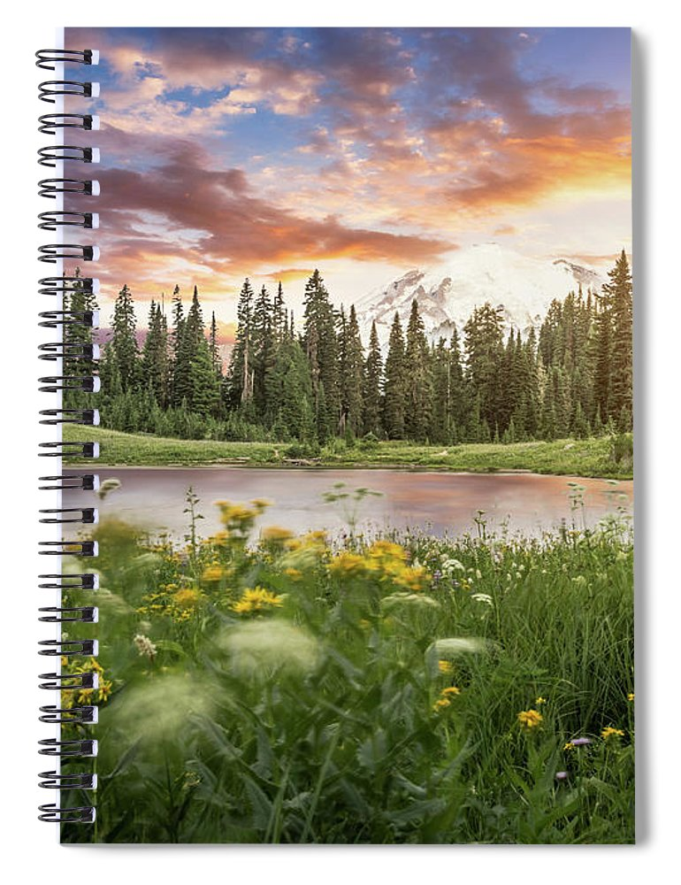Scenics Spiral Notebook featuring the photograph Tipsoo Lake Of Mt.rainier by Chinaface