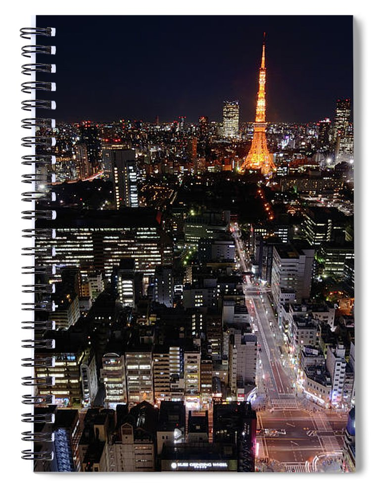 Tokyo Tower Spiral Notebook featuring the photograph Tokyo At Night by Sugimoto Yasuaki