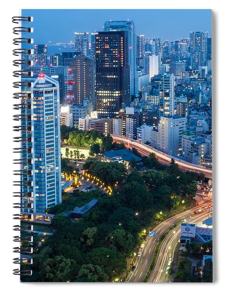 Downtown District Spiral Notebook featuring the photograph Tokyo City At Night With Skyscrapers by Photography By Zhangxun