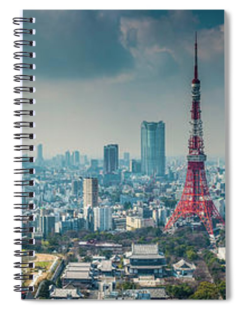 Tokyo Tower Spiral Notebook featuring the photograph Tokyo Tower Futuristic Skyscraper by Fotovoyager