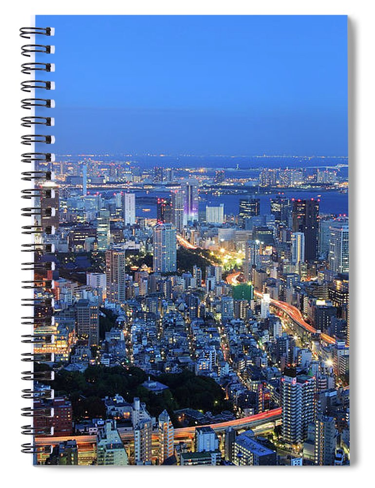 Tokyo Tower Spiral Notebook featuring the photograph Tokyo Tower View From Mori Tower by Krzysztof Baranowski