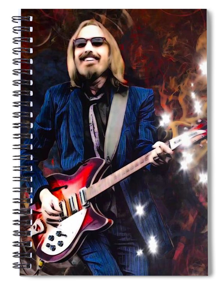Tom Petty Spiral Notebook featuring the digital art Tom Petty Portrait by Scott Wallace Digital Designs