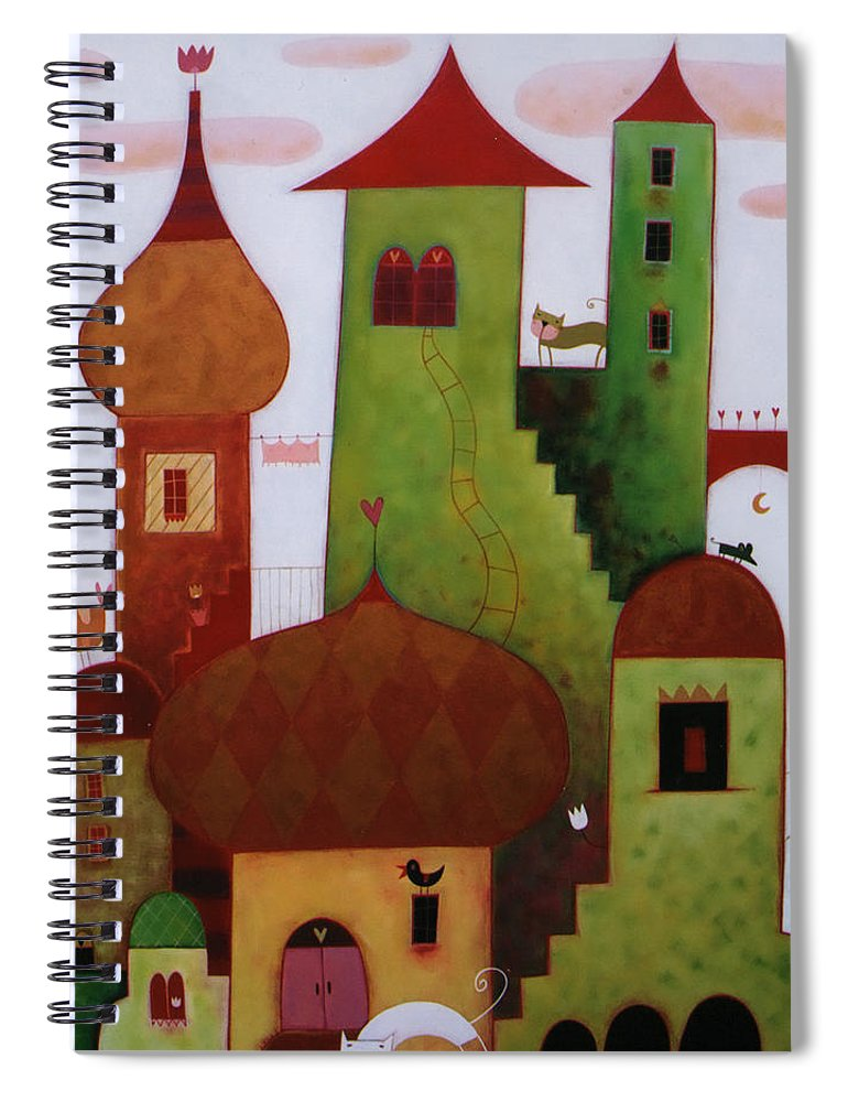 Tranquility Spiral Notebook featuring the digital art Towers In The Clouds by © Illusimi . Simona Dimitri 2013