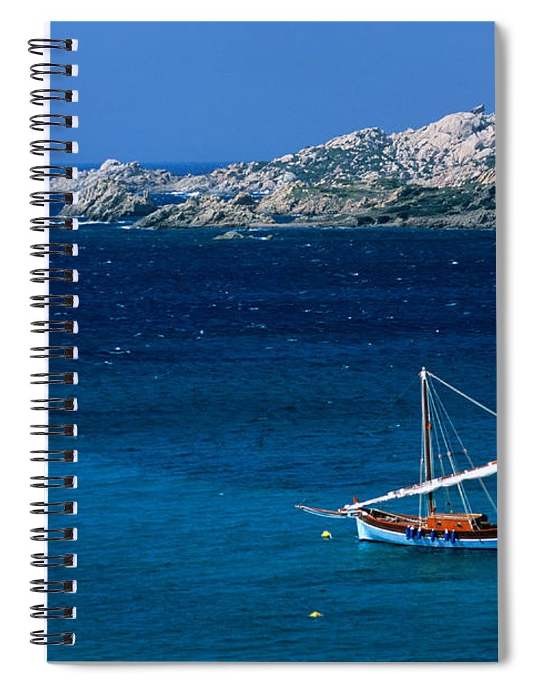 Sailboat Spiral Notebook featuring the photograph Traditional Sailboat On Rocky Coast Of by Dallas Stribley