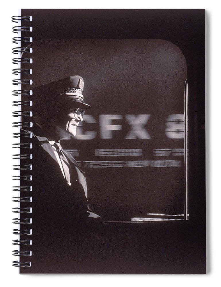Working Spiral Notebook featuring the photograph Train Conductor Looking Out Of Window by John Coletti