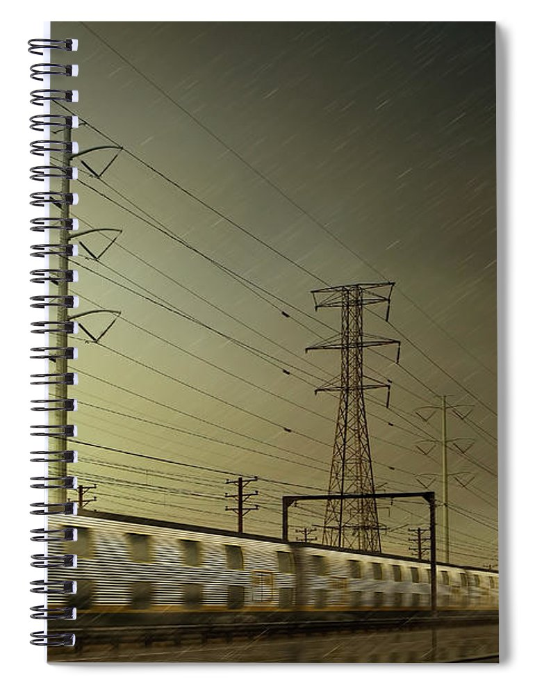 Train Spiral Notebook featuring the digital art Train Speeding By Power Lines by Chris Clor