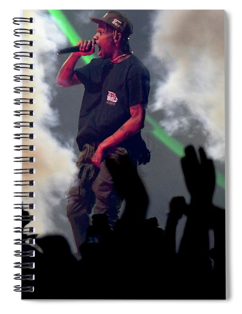 Travis Scott Spiral Notebook featuring the photograph Travis Scott by Concert Photos