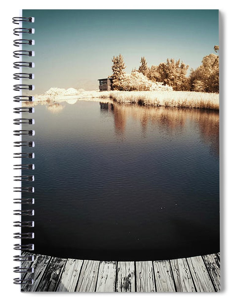 Tranquility Spiral Notebook featuring the photograph Trees And Plants In A Pond by D3sign