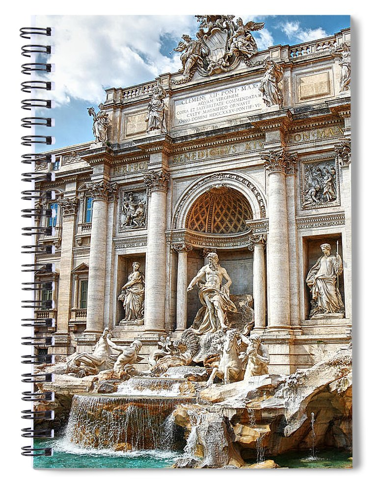 Arch Spiral Notebook featuring the photograph Trevi Fountain by Maria Wachala