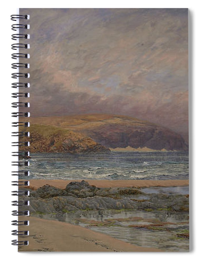 Seascape Spiral Notebook featuring the painting Trevose Head by John Brett