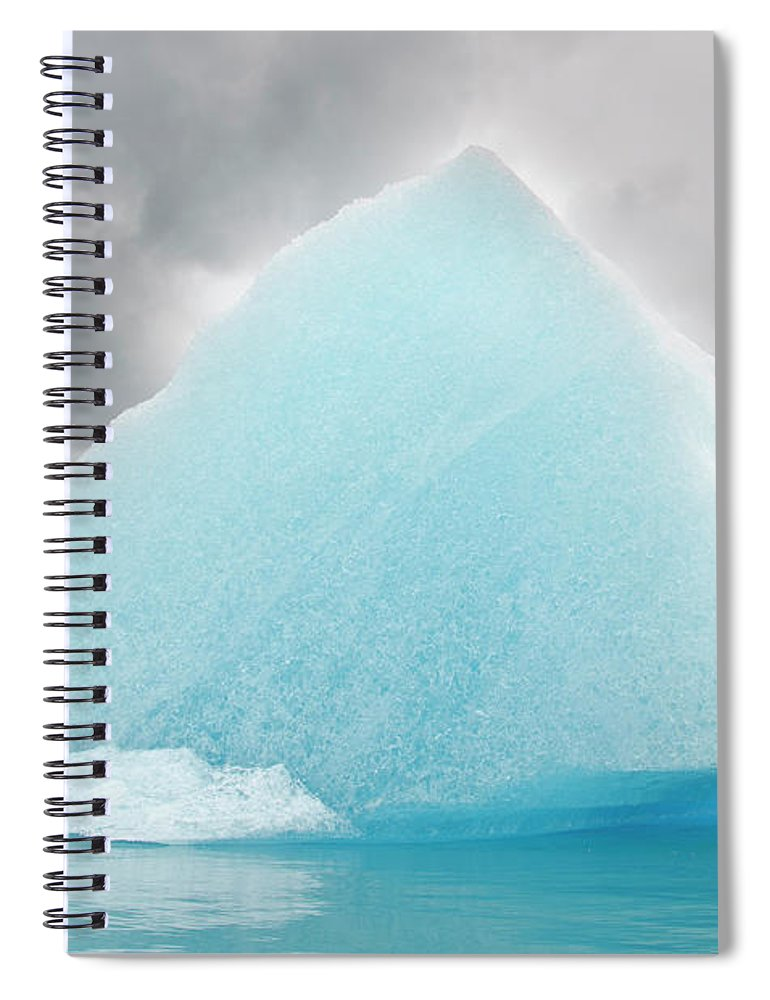 Iceberg Spiral Notebook featuring the photograph Triangular Iceberg On Gloomy Day, Bear by James + Courtney Forte