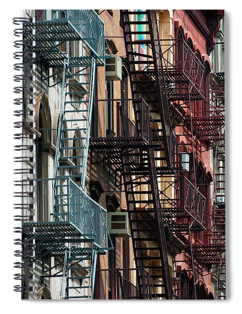 Downtown District Spiral Notebook featuring the photograph Tribeca Fire Escapes by Joseph O. Holmes / Portfolio.streetnine.com