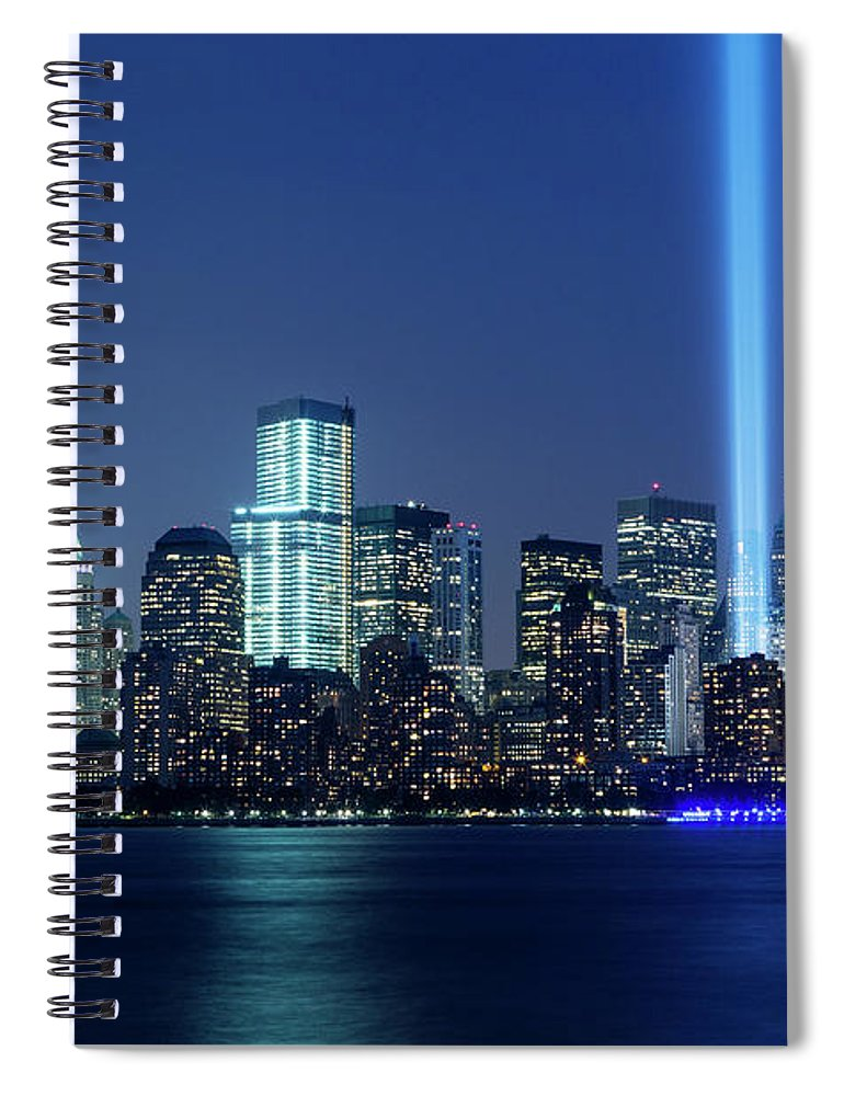 Tranquility Spiral Notebook featuring the photograph Tribute In Lights by Nathan Blaney